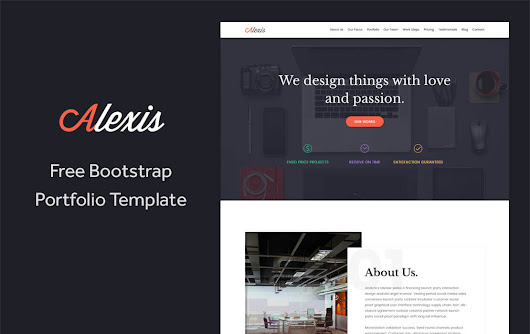 Alexis - Free One Page Bootstrap Portfolio Template | TemplateOcean