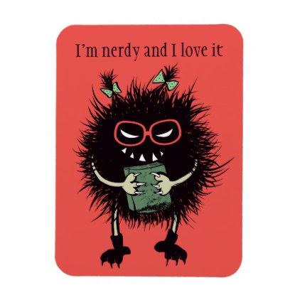 Nerd Evil Bug Girl Student Loves Reading Magnet