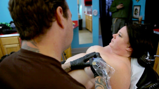 Shane Wallin tattoos nipples on breast cancer survivors who have had a mastectomy