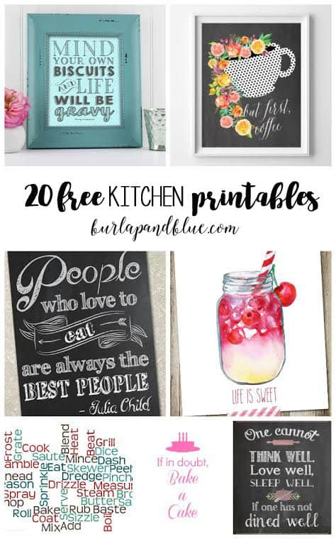 20 free kitchen printables