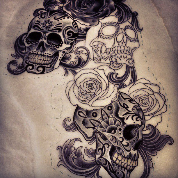 Sugar Skull Tattoo Drawing At Getdrawingscom Free For Personal