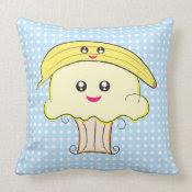 Kawaii Banana Cupcake Pillow mojo_throwpillow