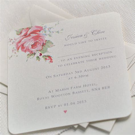 english rose design wedding invitations by beautiful day
