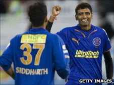 Rajasthan Royals Amit Singh (right) celebrates with Siddarth Trivedi