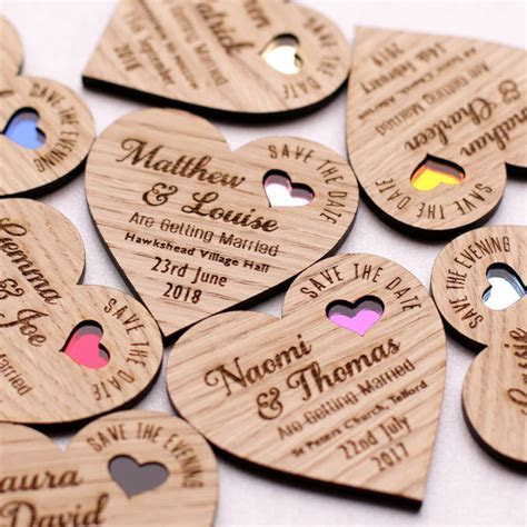 Save The Date Wood Heart Magnet Wooden Wedding Magnets