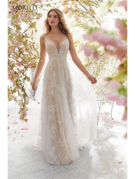 Mori Lee 6896 LIBBY Sweet Boho Bridal Gown Ivory/Nude