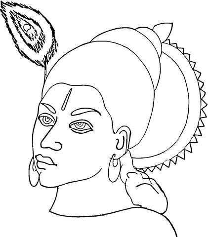 Disegno Di Viso Di Krishna Da Colorare Disegni Da Colorare E