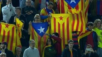 Un sector de la graderia del Camp Nou durant la xiulada