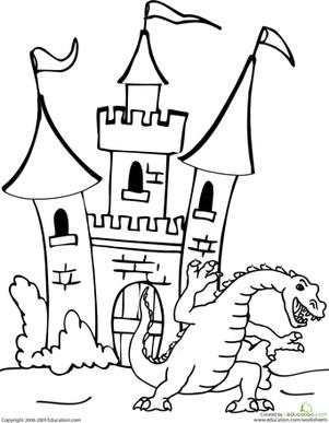 Dragon and Castle   Worksheet   Education.com