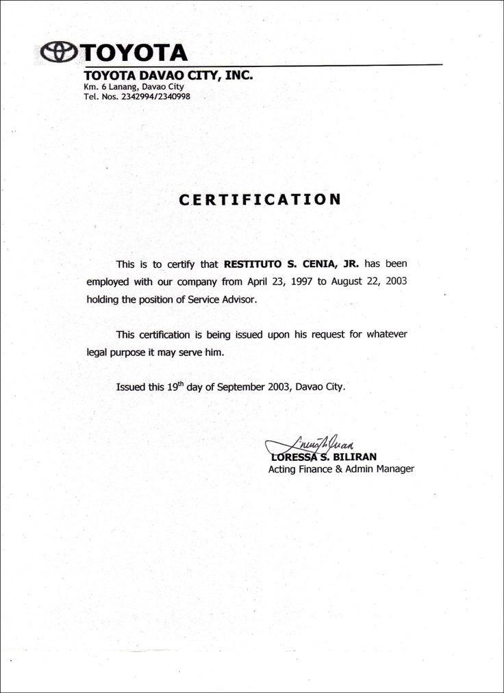 Employment Certificate Sample Employment In 2019 Job