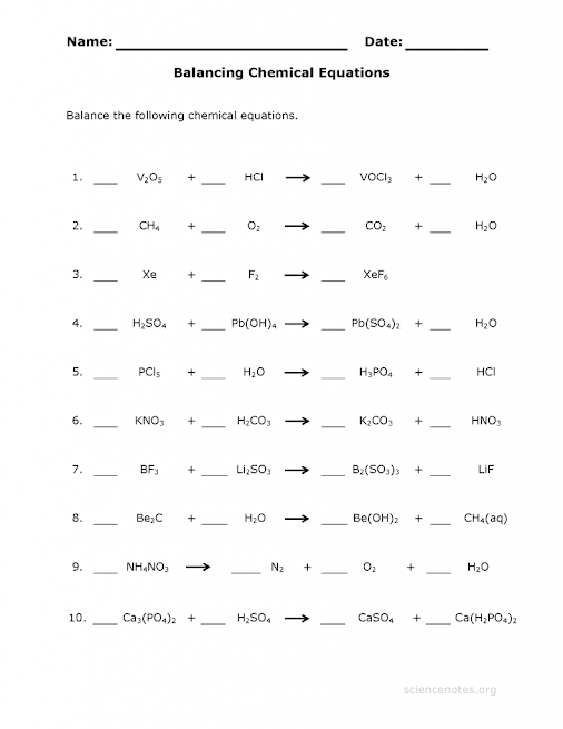 Chemical Equations Worksheet Tessshebaylo – Balancing Equations Practice Worksheet Answer Key