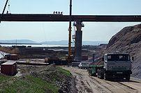 Construction on the Afghanistan-Tajikistan Bridge