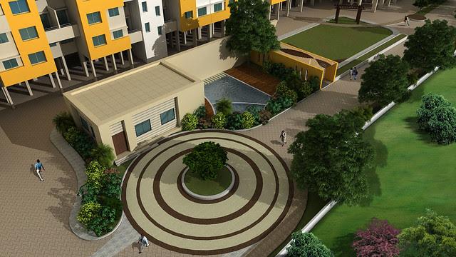 Top View of the Club House and Swimming Pool in Vastushodh's UrbanGram - How is Vastushodh's UrbanGram at Kondhawe Dhawade, near Warje, in Pune 411 023?