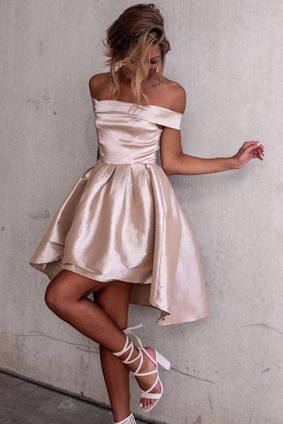 High Low Off-the-Shoulder Pleated Satin Homecoming Dress PG078