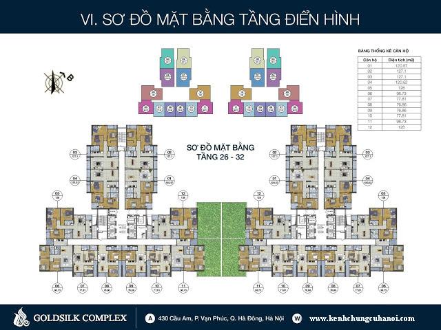 Sơ đồ mặt bằng tầng 26-32 Goldsilk Complex