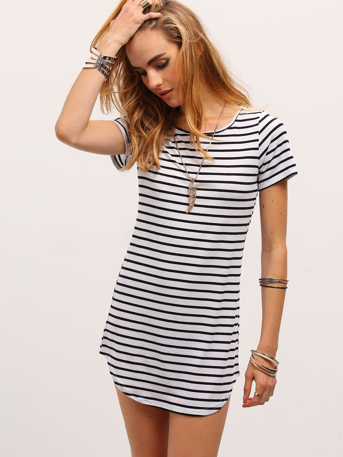 black white striped curved hem tshirt dressfor womenromwe