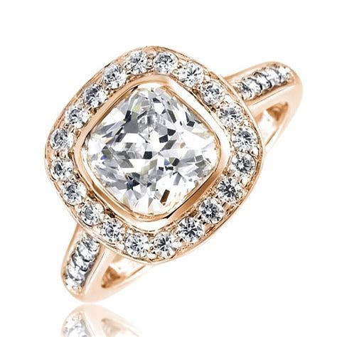 Mazal Diamond : Cushion Cut Halo Engagement Ring with