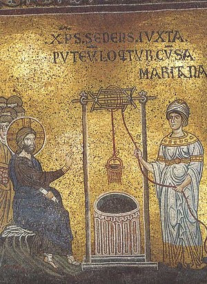 English: Christ anв Samaritan woman (Monreale)