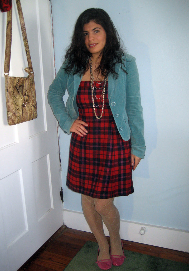 red plaid dress, turquoise blazer, pink flats