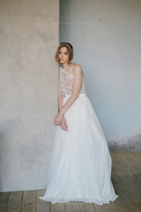 Two piece wedding dress from top and wrap skirt   Anna