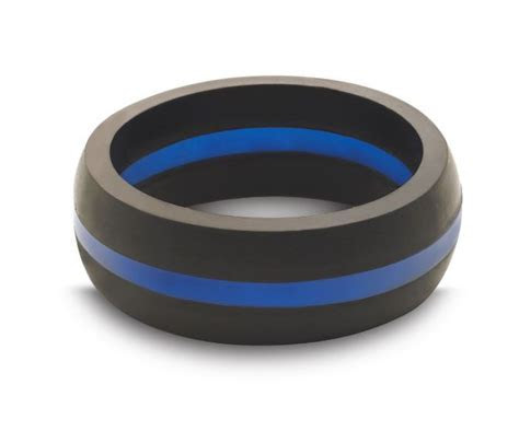 Men's Thin Blue Line Silicone Ring from QALO   Thin Blue