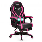 Computer Massage Gaming Recliner Chair with Footrest-Pink | Costway
