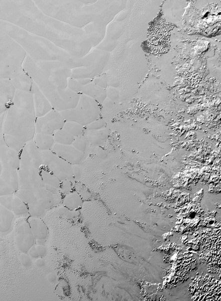 A high-res image of Pluto's Sputnik Planum region taken by NASA's New Horizons spacecraft...on July 14, 2015.