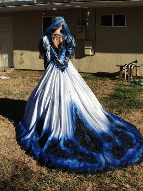 gothic wedding gown in metalic blue and black with