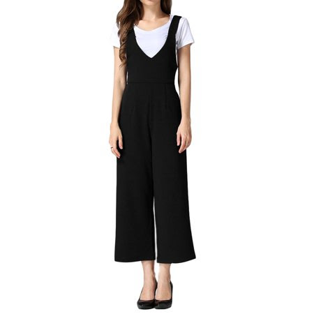 Allegra K Women's High Waist Wide Leg Cropped Suspender Pants