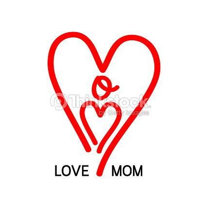 Diseño De Icono De Mamá El Amor Letras De Forma Del Corazón Arte