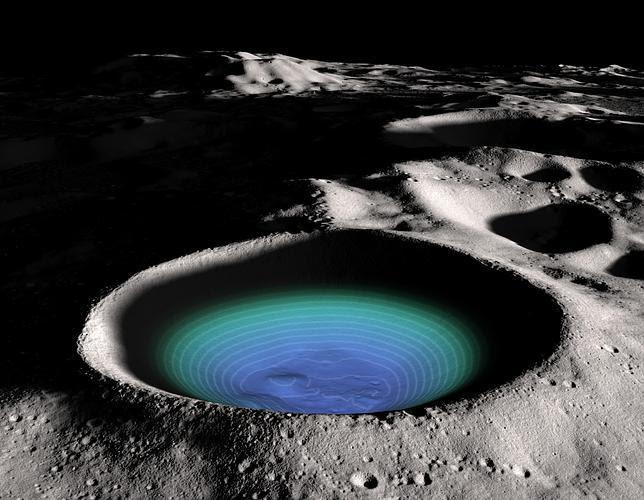Detectan la presencia de agua helada en el sur de la Luna