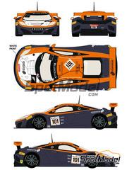 Racing Decals 43: Calcas escala 1/24 - McLaren MP4-12C GT3 Prosource Nº 101 - Tim Mullen + Rob Bell + Shane van Gisbergen - 24 Horas de SPA Francorchamps 2014 - para kit de Fujimi FJ12587, FJ125558, FJ125633