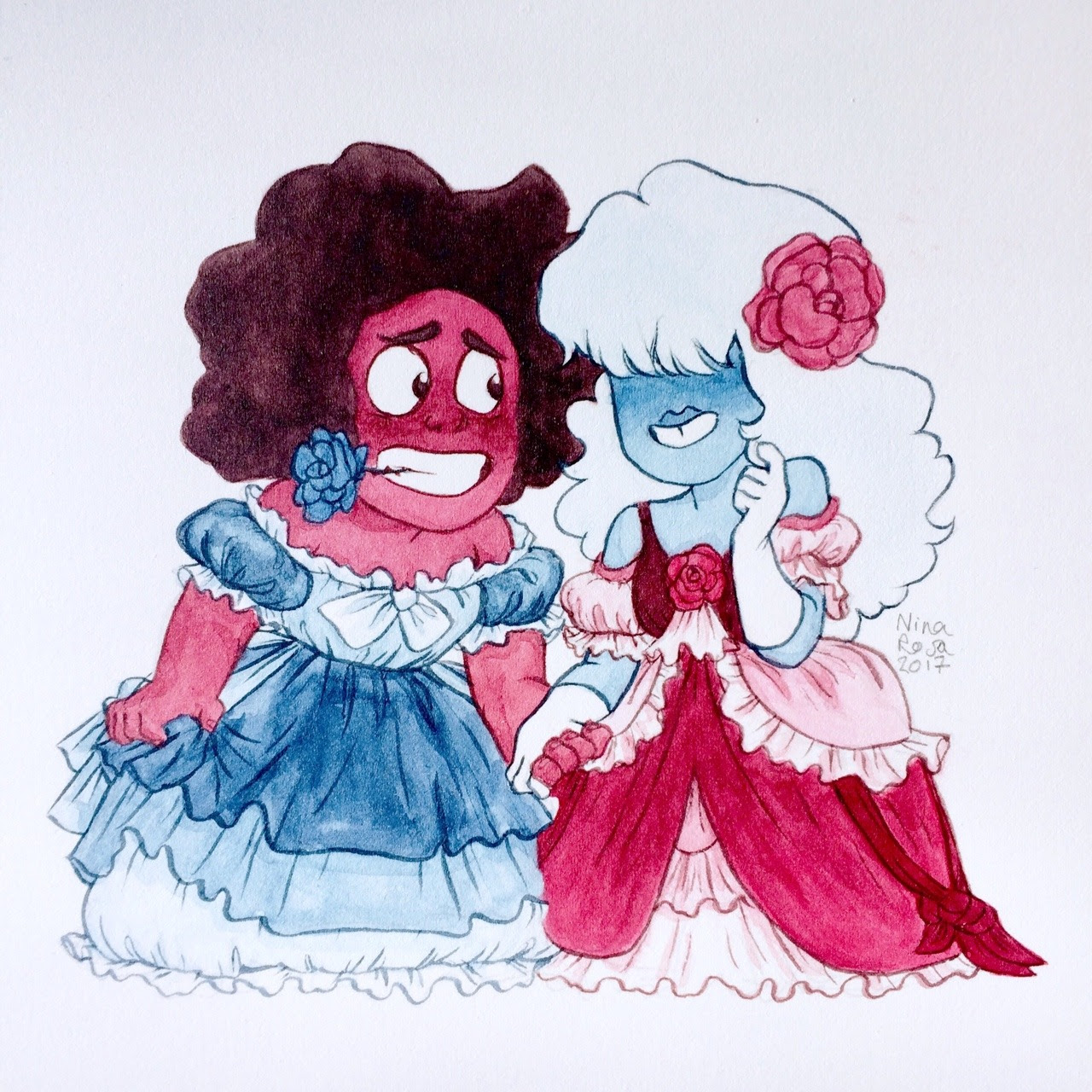 They thought about each other choosing their dresse's color (Based on a drawing Rebecca Sugar did!!)