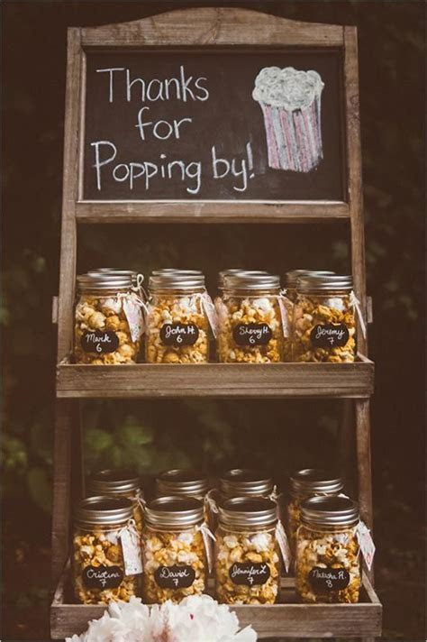 Mason jar popcorn wedding favor   Wedding Eats   Pinterest