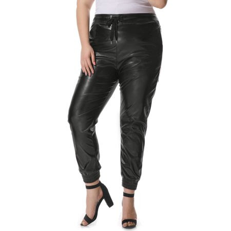 Women's Plus Size Drawstring Waist PU Jogger Pants Black (Size 3X)