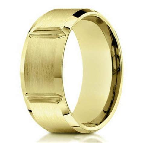 Designer men's 10K gold wedding band  8mm width
