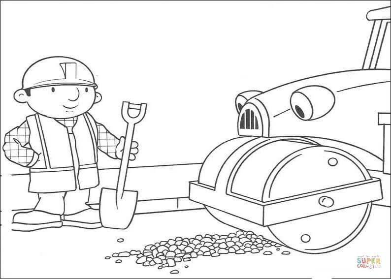 Dibujo De Roley Ayuda A Bob A Arreglar La Carretera Para Colorear