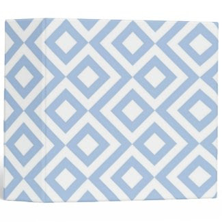 Light Blue and White Meander Binders