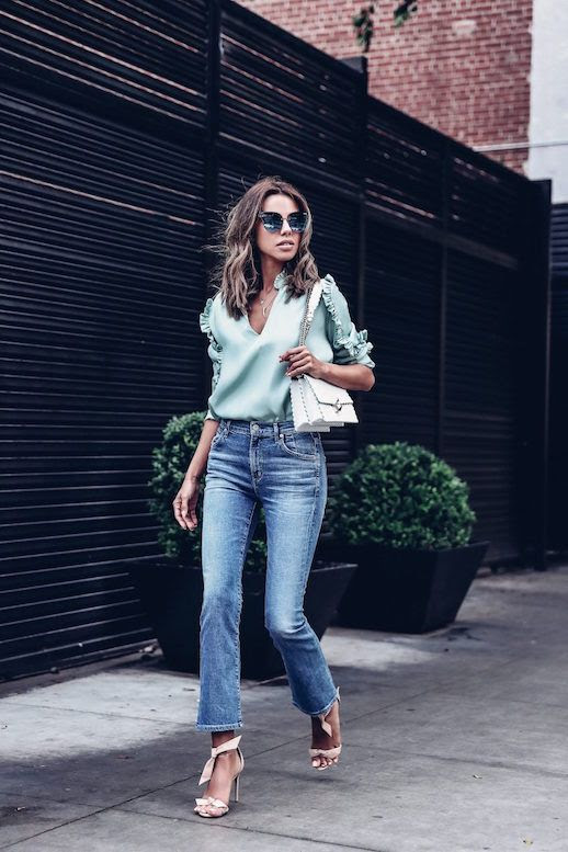 Le Fashion Blog Quay Sunglasses Mint Silk Ruffled Blouse Cropped Straight Leg Jeans Nude Ankle Wrap Heels Via The Viva Luxury