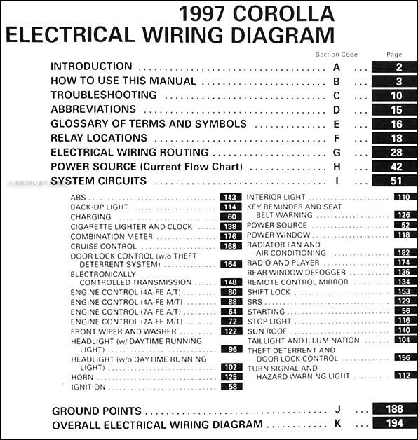 1997 Toyota Corolla Wiring Diagram Manual Original