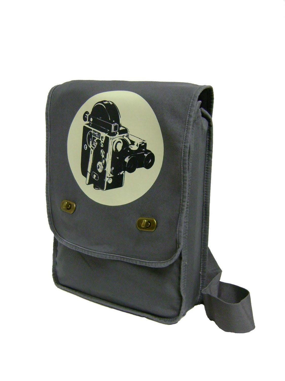vintage movie camera film geek (gray) MESSENGER / LAPTOP BAG