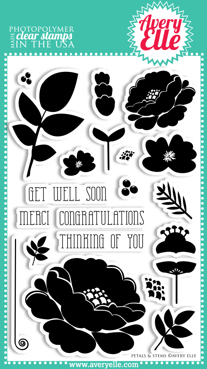 """Our 4"""" x 6"""" Petals and Stems Clear Photopolymer stamp set is perfect to create beautiful cards and layouts.   Stamp the sentiments inside a ring of flowers and leaves.  Create your own bouquet.  The possibilities are endless."""