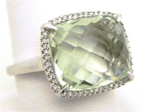 Ladies 14k White Gold 11.22 Cts. Green Amethyst Diamonds