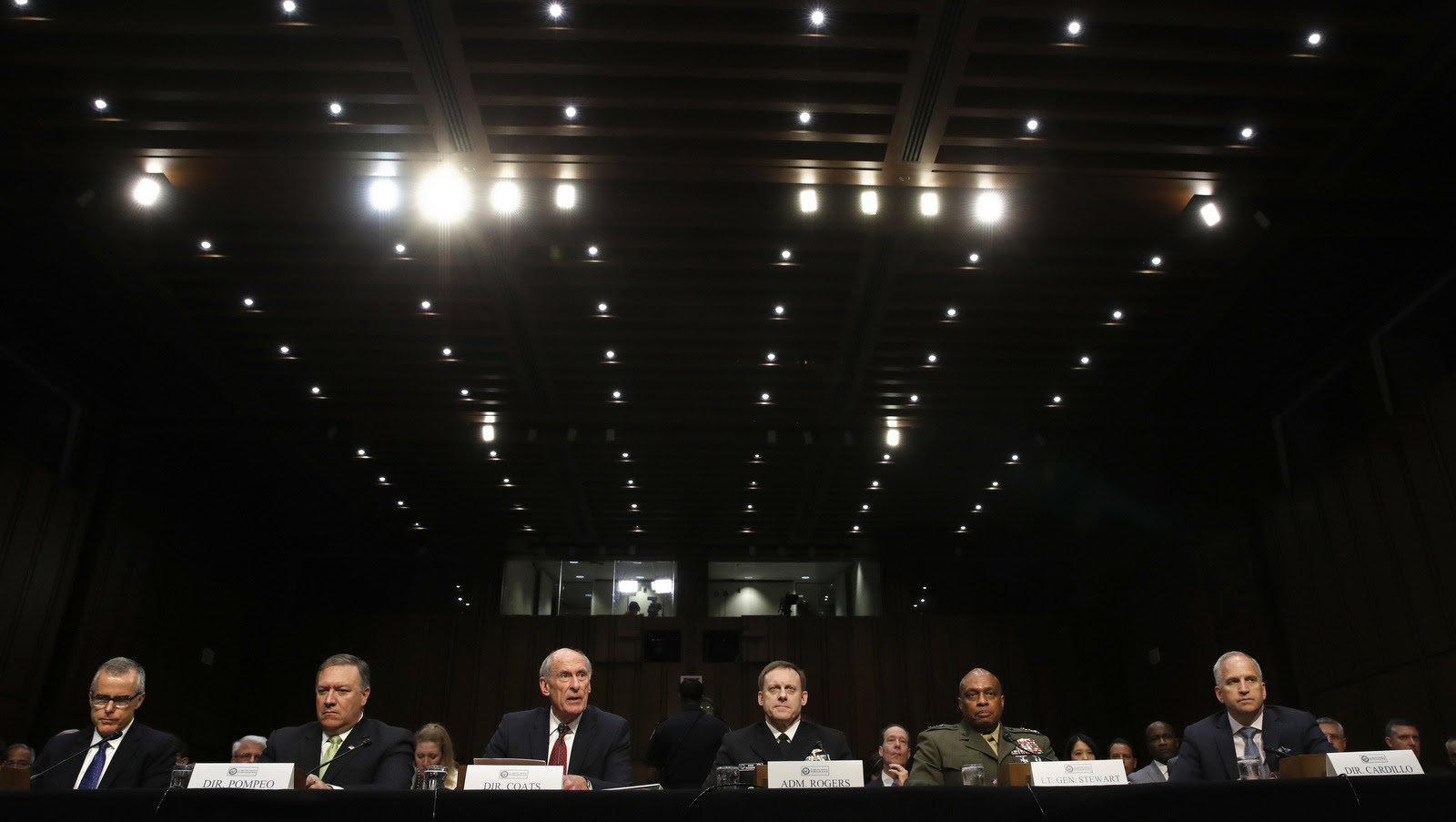 The Top brass of US intelligence agencies prepare to testify in Washington, May 11, 2017, before the Senate Intelligence Committee hearing on major threats facing the U.S. (AP/Jacquelyn Martin)