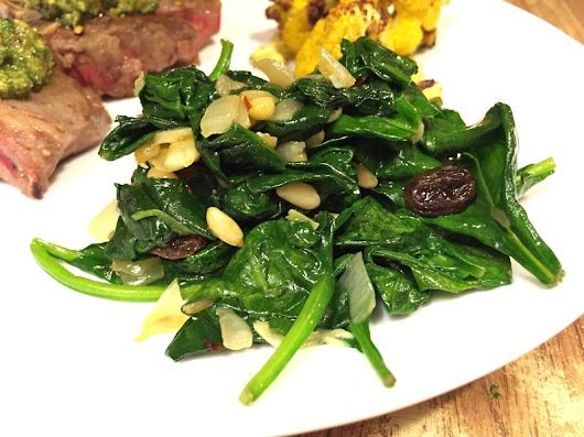 Spinach with Garlic, Raisins and Pine Nuts