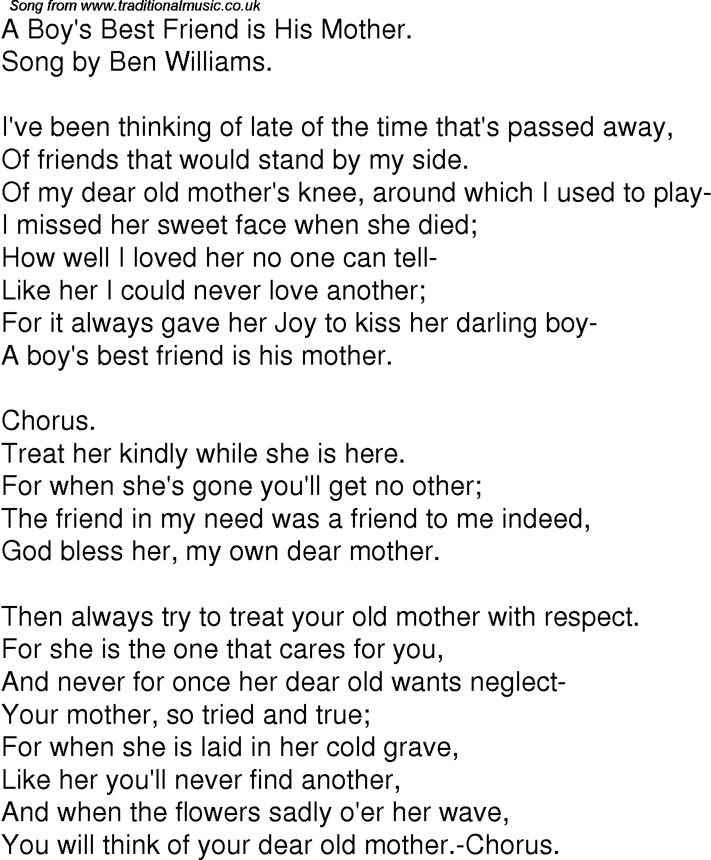 Old Time Song Lyrics For 06 A Boys Best Friend Is His Mother