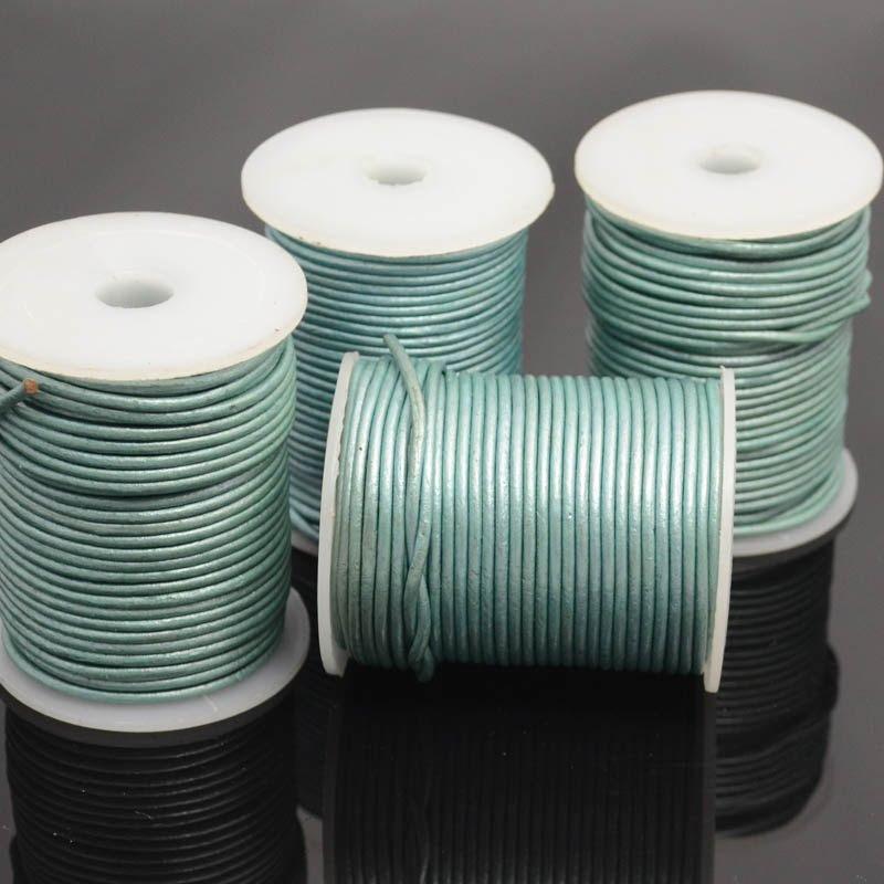 s39338 Stringing - 2 mm Leather Cord - Seafoam (1 Metre)
