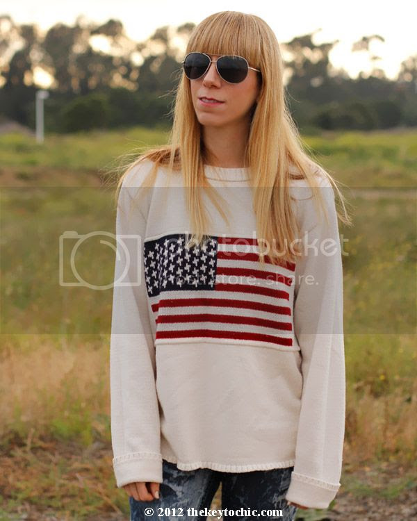 American flag sweater, bleached jeans, Jeffrey Campbell studded boots, Los Angeles fashion blogger, southern California style