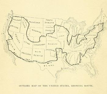 "Map from book ""Around the United States by Bicycle"" (1906)"