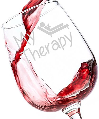 My Therapy Funny Wine Glass 13 Oz Best Christmas Gifts For Women